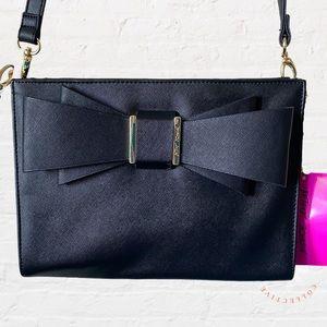 BETSEY JOHNSON Crossbody Bag bow Black Gold NWT